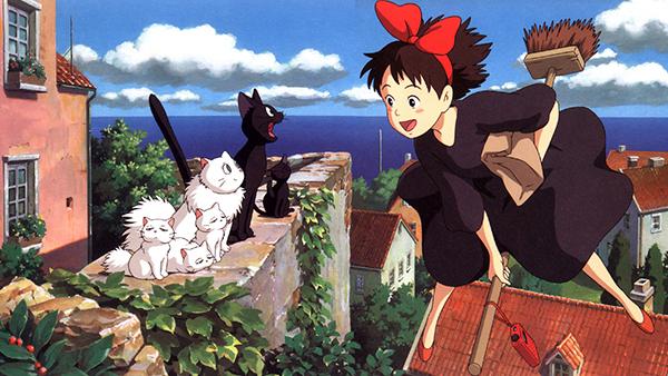 Hình ảnh cô phù thủy nhỏ cưỡi Kiki cưỡi chổi bay trong phim hoạt hình Kiki's Delivery Service