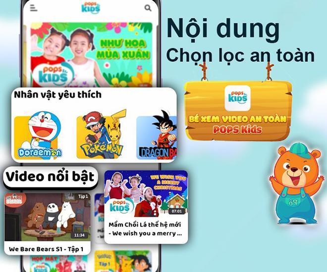 Tính năng chọn lọc nội dung trẻ em an toàn trên POPS Kids
